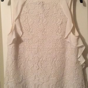 Lauren Conrad White Crochet Shirt Women's Size S